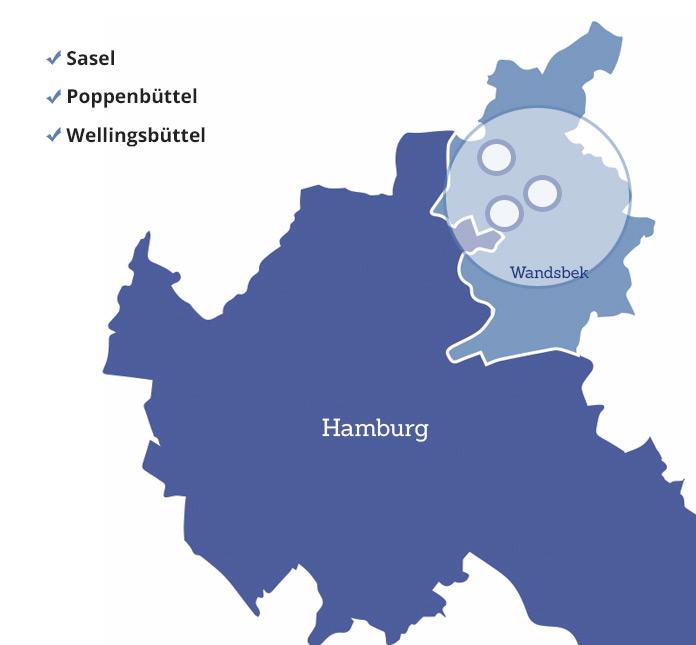 Ambulante Pflege der Johann Carl Müller Stiftung - Gebietskarte